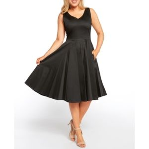 NWT Black Full Skirt Sleeveless Swing Dress